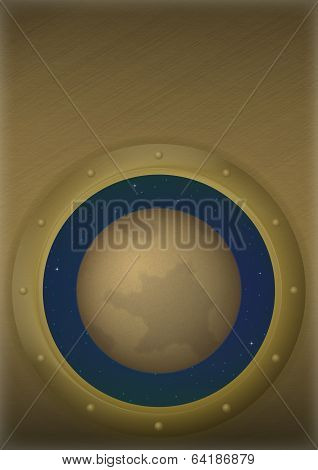 Planet Pluto in space window