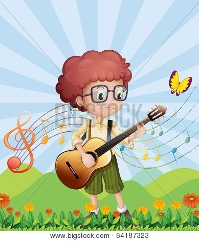 Illustration of a boy with his guitar at the hills