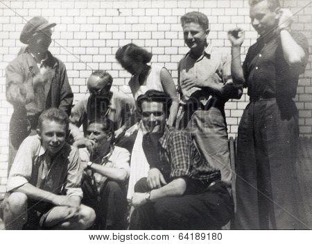 Poland, circa 1950: a group of close friends having a good time and posing for a photograph, circa 1950
