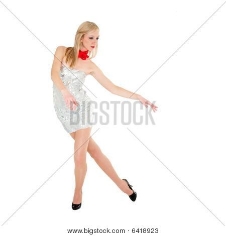 Woman Standing On A White With Copyspace