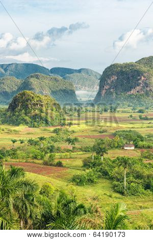 View of the Vinales Valley in Cuba on the early morning with clouds and mist floating among the mountains