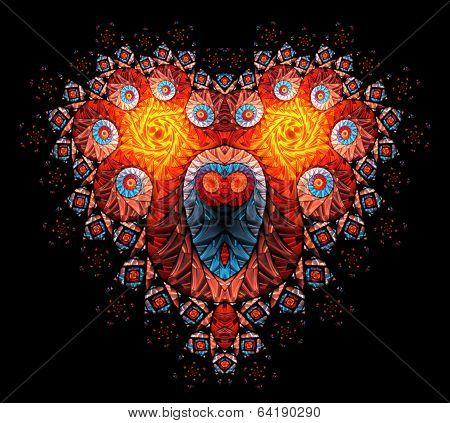 Symbolic diamond heart-shaped red heart that symbolizes love