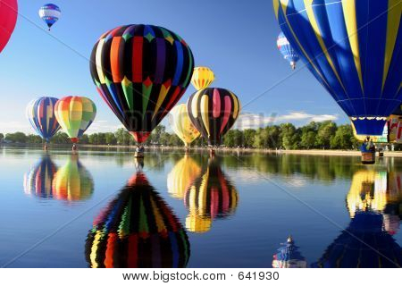 Hot Air Ballooning Mass Ascension Reflection