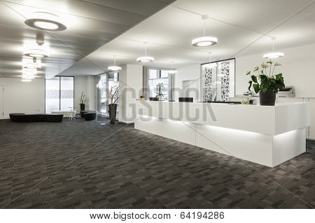 Empty reception hall in modern building