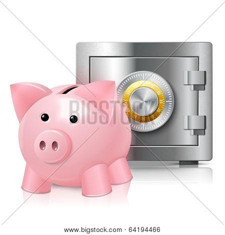 Piggy bank with safe print