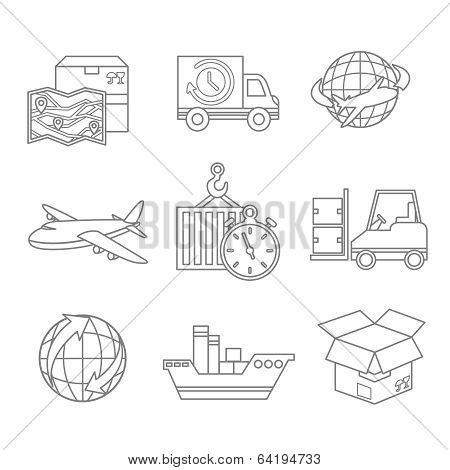 Logistic icons outline