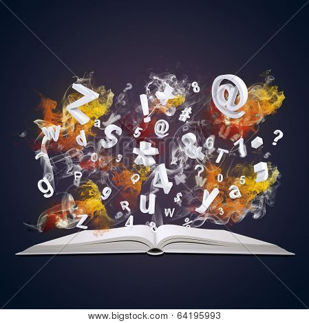 Open book emits letters, numbers and colored smoke