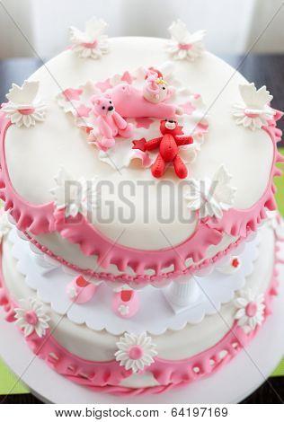 Christening cake for baby girl