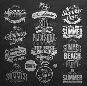 stock photo of chalkboard  - Retro Elements for Summer Calligraphic Designs On Chalkboard - JPG