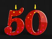 stock photo of 50th  - Number Fifty Candles Showing Fiftieth Birthday Candles Or Celebration - JPG