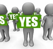 pic of confirmation  - Characters Holding Yes Signs Mean Agreement Affirmation And Confirmation - JPG