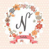 image of letter n  - Personalized monogram in vintage colors - JPG