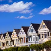 stock photo of victorian houses  - San Francisco Painted Ladies Victorian houses in Alamo Square at California USA - JPG