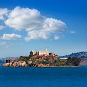 foto of alcatraz  - Alcatraz island penitentiary in San Francisco Bay California USA view from Pier 39 - JPG