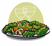 image of steamy  - illustration of the steamy vegetable salad at the plate - JPG