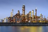 picture of refinery  - Oil refineries line a river in Yokkaichi - JPG