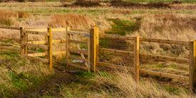 picture of marshlands  - kissing gate on marshland adjacent Thames estuary near Tilbury Essex - JPG