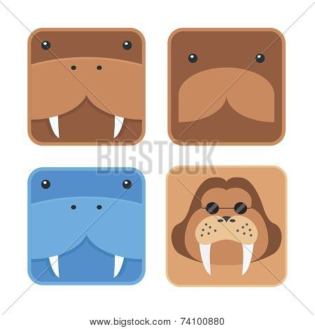 set of minimal design flat walrus head, round edge icon blue and brown