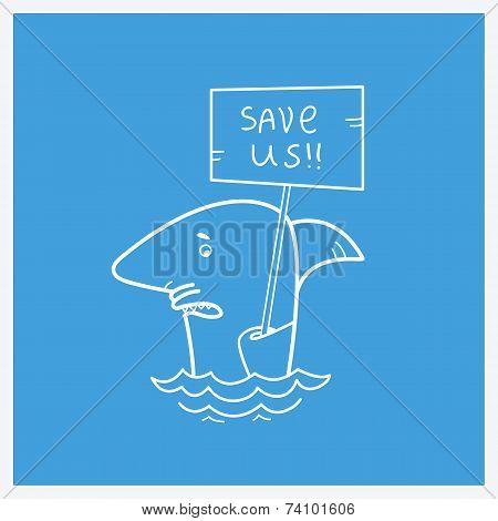 Save Sharks.vector Card Illustration