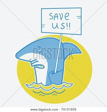 Save Sharks.vector Card Illustration On White