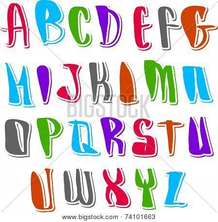 Calligraphic script, handwritten alphabet letters set, hand drawn font.