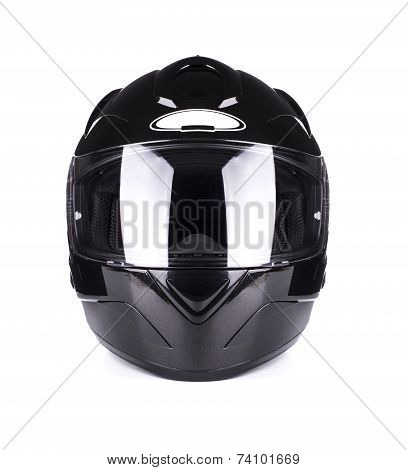 Black full face motorcycle helmet.