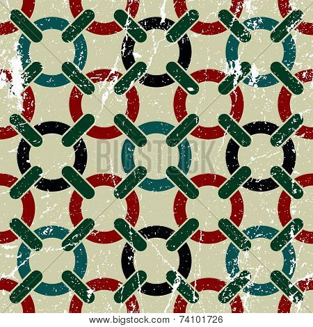 Colorful seamless pattern with intertwine circles,textured background.