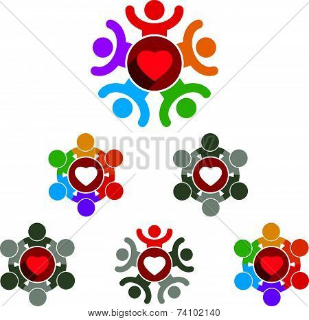 Love and society theme icons set, conceptual valentine and romantic symbols collection.