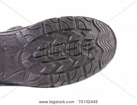 Black rubber shoe sole.