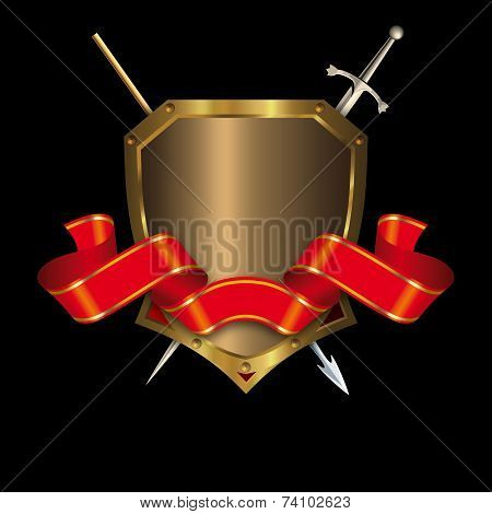 Gold Medieval Shield And Red Banner.