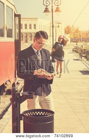 Couple Outside Retro Train Coach Have A Romantic Encounter
