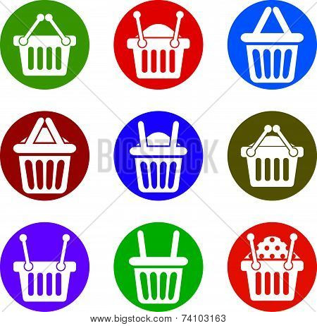 Shopping basket icons isolated on white background set, supermarket shopping simplistic symbols