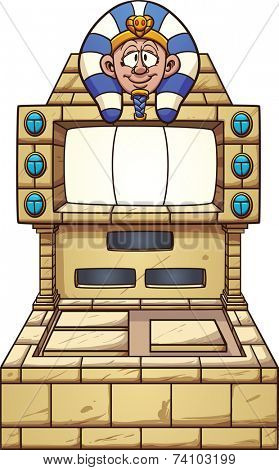 Ancient Egypt themed slot machine. Vector clip art illustration with simple gradients. Pharaoh's head, console and gems on separate layers.