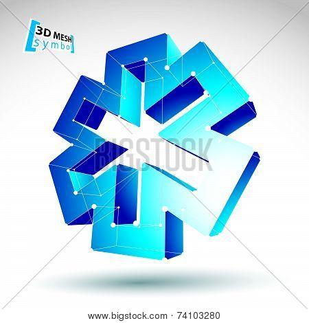 3d mesh web blue ambulance icon isolated on white background, colorful