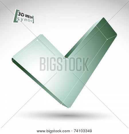 3d mesh black and white validation sign isolated on white background, monochrome sketch checkmark ic
