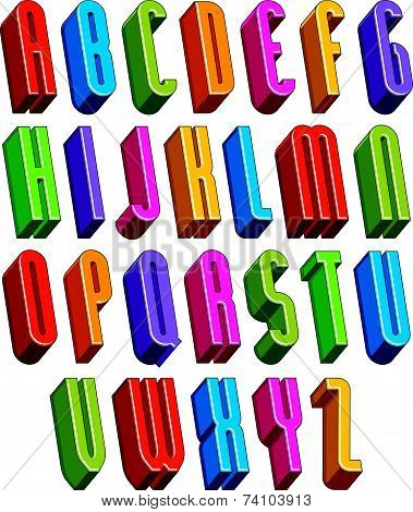 3d font, tall thin letters, geometric dimensional alphabet made with round shapes, best for use in a