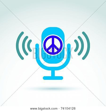Peace propaganda icon with microphone, conceptual unusual symbol for your design.