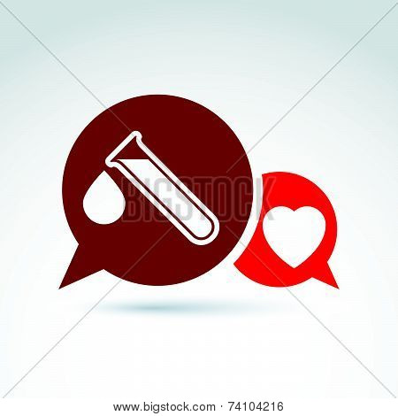 illustration of a red heart symbol and test tube with a blood drop.