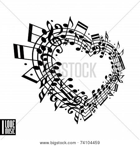 I Love Music Concept.
