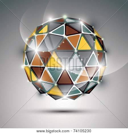 Abstract 3D Vivid Gala Sphere With Gemstone Effect, Gold And Metal Twinkle Orb Created From Triangle