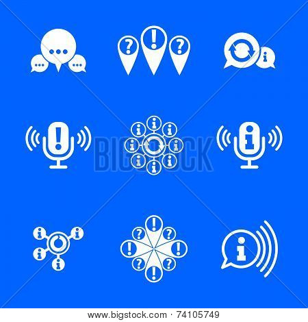 Information analyzing collecting and exchange theme icon set, analyze and solution, conceptual unusu
