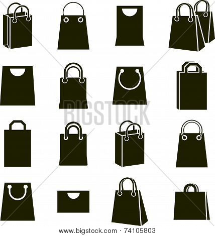 Shopping bag icons isolated on white background set, shopping theme simplistic symbols collections.