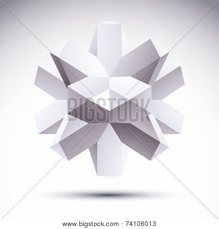 3D Polygonal Geometric Object, Abstract Design Element,