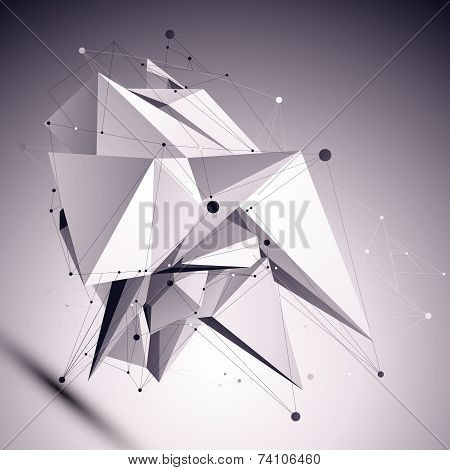 3D modern cybernetic abstract background, origami futuristic template with lines mesh. Asymmetric