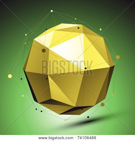Abstract 3D structure, green vector network backdrop, yellow spherical figure with lines mesh