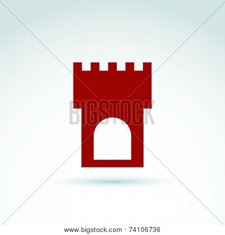 Vector illustration of tower, historical monument symbol, ancient fortress depiction. Touristic show