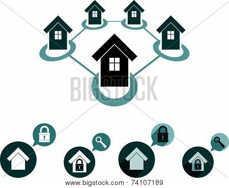 Real estate icons set, realty theme symbols collection.