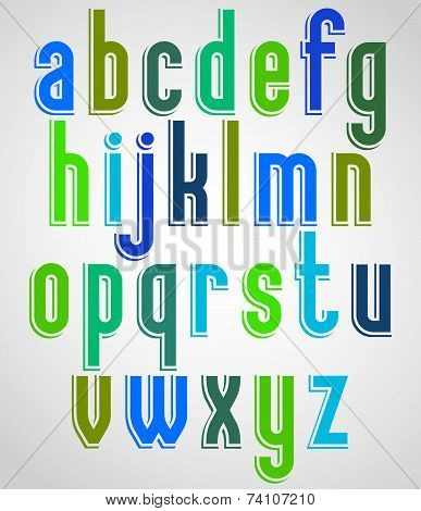 Colorful animated font, lower case letters with white outline.