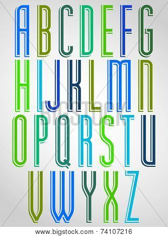 Colorful animated narrow font, upper case letters with white outline.