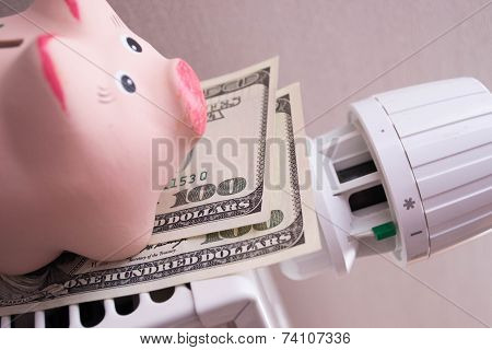 Pink piggy bank saving electricity and heating costs, close up